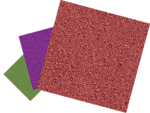 Green, purple, and red sandpapers