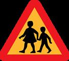 children crossing road sign