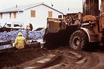 This photograph was taken during cleanup efforts a