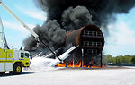 Double deck aircraft mockup aids firefighting research