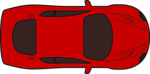 Red racing car top view