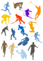Various colorful sport silhouettes