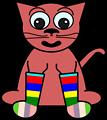 Cartoon Cat In Rainbow Socks