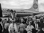 This photograph shows numerous Cuban citizens arri