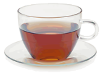 Glass cup with glass saucer