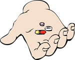 hand and pills