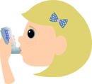 Girl with asthma spray