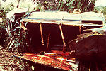 This 1977 image depicts a lorry accident in Mano J