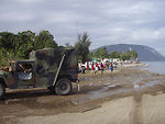 This image depicts a convoy of U.S. Marines who'd