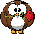 Cartoon owl with a rose