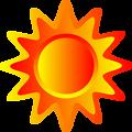 Red, orange and yellow sun