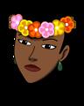 Woman wearing hawaiian lei