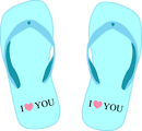 "Thong light blue with ""I love you"""