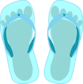 Thong light blue with footprint