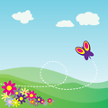 Cartoon Hillside with Butterfly and Flowers