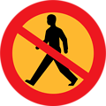 No entry sign with a man