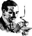 Mustache Man with Coffee