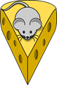 Cartoon mouse on top of a cheese