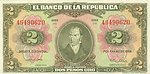 Bank Note of the Republic of Colombia, DOS PESOS ORO (2 gold pesos) featuring Camilo Torres Tenorio on the front.