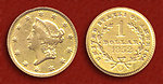 $1 US 'Liberty Head' Gold coin minted at New Orleans, Louisana (Mint mark 'O') in 1852.