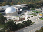 Image of the Ontario Science Centre taken on Monday, September 23, 2006. Taken by myself. Completed Teluscape. A series of pathways, including a water walkway, extend radially from the water pipe organ (fountain), which is the main centerpiece of Teluscap