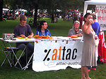 An ATTAC stall at the Volksstimmefest, Vienna, Austria, September 4, 2005. The Volksstimmefest is an annual two-day event organized by the Communist Party of Austria at the Jesuitenwiese, Prater, Leopoldstadt. It takes place on the first weekend in Septem