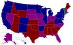 The 111th United States Senate. This map reflects the results of the 2008 United States Senate election, and also reflect Arlen Spencer switching to the Democratic Party.