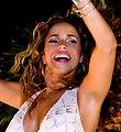Daniela Mercury atop trio eletrico during carnaval in Salvador Bahia