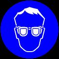 Deutsch:  Augenschutz benutzen, Gebotszeichen D-M001 nach DIN 4844-2 Use protective eyewear, mandatory action symbol D-M001 according to German standard DIN 4844-2