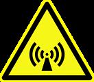 Deutsch:  Warnung vor nicht ionisierender, elektromagnetischer Strahlung, Warnzeichen D-W012 nach DIN 4844-2 Non-ionising electromagnetic radiation, warning sign D-W012 according to German standard DIN 4844-2