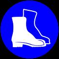 Deutsch:  Fußschutz benutzen, Gebotszeichen D-M005 nach DIN 4844-2 Use protective footwear, mandatory action sign sign D-M005 according to German standard DIN 4844-2