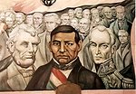Panel of Piña mural in the Government Palace in Chihuahua, Mexico, honouring the liberators Abraham Lincoln, Benito Juárez and Simón Bolivar