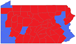 2000 presidential election counties map in PA. Blue for Gore counties, Red for Bush counties.