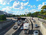 Cahill Expressway and Sydney Harbour Tunnel, from Conservatorium Road, Sydney, New South Wales, Australia.