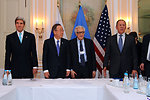 Secretary Kerry, UN Secretary-General Ban Ki-moon, UN Special Representative Brahimi, and Russian Foreign Minister Lavrov Before a Trilateral Meeting