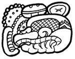 Lietuvių:  Majų glifas, simbolizuojantis miestą Calacmul. Padarytas naudojant freeware Maya font.