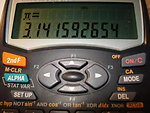 i took this picture for a class - shows a calculator with digits of pi