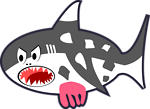 Black, White & Red Cartoon Shark Cow
