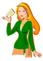Redhead holding a card