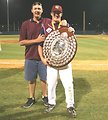 Jay Nilsson holding the Claxton Shield