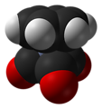 Space-filling model of the (benzene)chromium tricarbonyl molecule, [(C6H6)Cr(CO)3]. X-ray diffraction data from J. Am. Chem. Soc. (1987) 109, 587–589. Model constructed in CrystalMaker 8.1. Image generated in Accelrys DS Visualizer.
