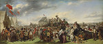 Derby Day by William Powell Frith, c. 1850s. 'First study' for the painting. Oil on canvas, 39.4 x 91.1 cm