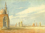 City of the Dead, Cairo, circa 1840, watercolor and pencil on paper by John Prendergast, 9 x 12 inches