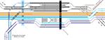 Rail tracks map Tōkaidō Main Line around JR-East Tsurumi Station in Tsurumi-ku, Yokohama, Japan.  Reference material:  Michitaka Tsuru & Yoshihiro Meguro, 'Introducing the major railway stations in Japan starting from Tokyo Station westwards. No.1', R