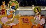 Krishna and Radha playing chaturanga on an 8x8 Ashtāpada