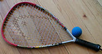 Typical racquetball racquet and ball used in the USA