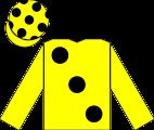 The en:racing silks of Obaid Al Maktoum, as worn by the jockey of High-Rise to victory in the en:1998 Epsom Derby.