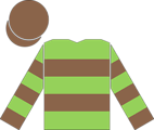 The en:racing silks of the Aga Khan (second colours), as worn by the jockey of en:Kahyasi to victory in the en:1988 Epsom Derby.