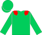 The en:racing silks of the Aga Khan, as worn by the jockey of en:Sinndar to victory in the en:2000 Epsom Derby.