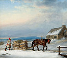Figure, House and Sleigh in Snow, oil painting by Cornelius Krieghoff, 9.75 x 11.4 in.